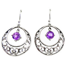 2.63cts natural purple amethyst 925 sterling silver dangle earrings r36806