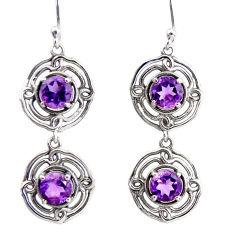 5.09cts natural purple amethyst 925 sterling silver dangle earrings r36839
