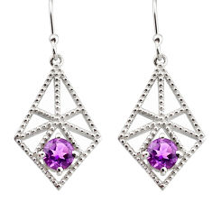 2.47cts natural purple amethyst 925 sterling silver dangle earrings r36871