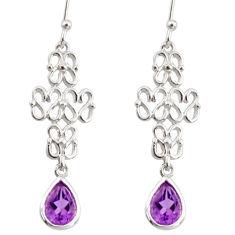 3.11cts natural purple amethyst 925 sterling silver dangle earrings r36889