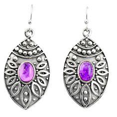 3.24cts natural purple amethyst 925 sterling silver dangle earrings r38061