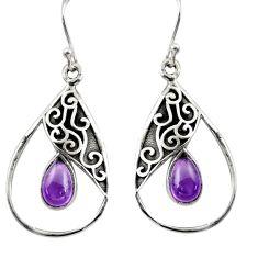 4.93cts natural purple amethyst 925 sterling silver dangle earrings r38107