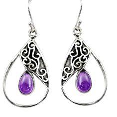4.47cts natural purple amethyst 925 sterling silver dangle earrings r38110