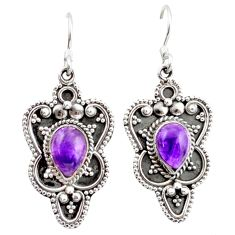 4.82cts natural purple amethyst 925 sterling silver dangle earrings r41161