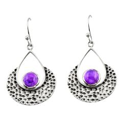 1.86cts natural purple amethyst 925 sterling silver dangle earrings r42884