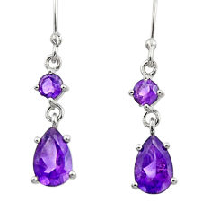 4.69cts natural purple amethyst 925 sterling silver dangle earrings r45416