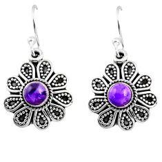 1.49cts natural purple amethyst 925 sterling silver dangle earrings r54005