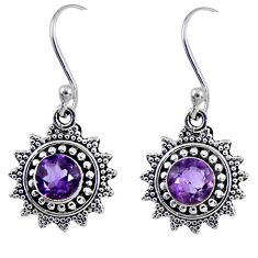 2.14cts natural purple amethyst 925 sterling silver dangle earrings r55222