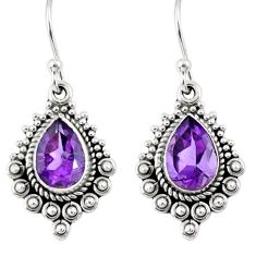 4.43cts natural purple amethyst 925 sterling silver dangle earrings r55345