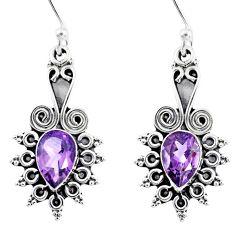 4.28cts natural purple amethyst 925 sterling silver dangle earrings r55346