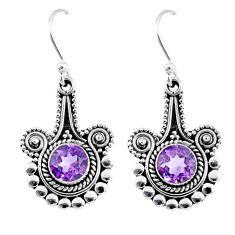 2.46cts natural purple amethyst 925 sterling silver dangle earrings r55351