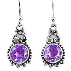 4.89cts natural purple amethyst 925 sterling silver dangle earrings r60422