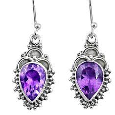 6.04cts natural purple amethyst 925 sterling silver dangle earrings r60441