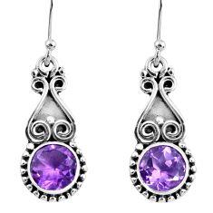 5.23cts natural purple amethyst 925 sterling silver dangle earrings r60461