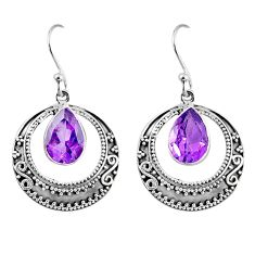 5.12cts natural purple amethyst 925 sterling silver dangle earrings r60961