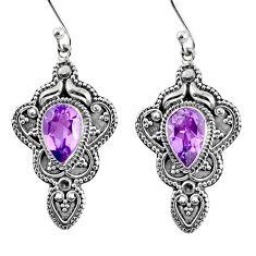 5.47cts natural purple amethyst 925 sterling silver dangle earrings r65121