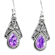 3.93cts natural purple amethyst 925 sterling silver dangle earrings r67045
