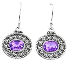 4.26cts natural purple amethyst 925 sterling silver dangle earrings r67105