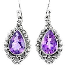 8.75cts natural purple amethyst 925 sterling silver dangle earrings r67146