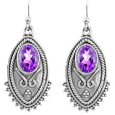 4.25cts natural purple amethyst 925 sterling silver dangle earrings r67161