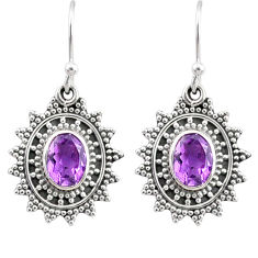 4.22cts natural purple amethyst 925 sterling silver dangle earrings r68390