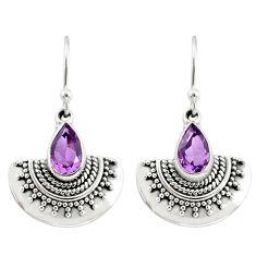 4.44cts natural purple amethyst 925 sterling silver dangle earrings r68401