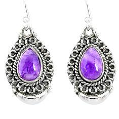 5.10cts natural purple amethyst 925 sterling silver dangle earrings r89302