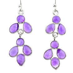 7.57cts natural purple amethyst 925 sterling silver dangle earrings t12526
