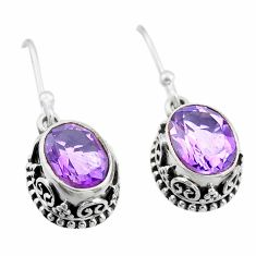 5.84cts natural purple amethyst 925 sterling silver dangle earrings t46848
