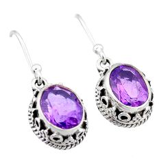 5.53cts natural purple amethyst 925 sterling silver dangle earrings t46861