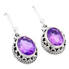 5.26cts natural purple amethyst 925 sterling silver dangle earrings t46862