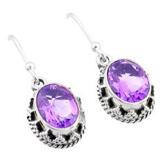 5.47cts natural purple amethyst 925 sterling silver dangle earrings t46892