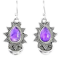 5.54cts natural purple amethyst 925 sterling silver dangle moon earrings r89144