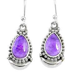 5.02cts natural purple amethyst 925 sterling silver dangle moon earrings r89367