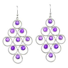 7.66cts natural purple amethyst 925 sterling silver earrings jewelry r38762