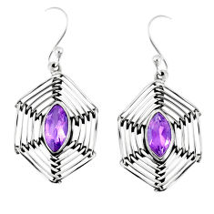5.11cts natural purple amethyst 925 sterling silver earrings jewelry r77782