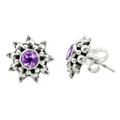 1.62cts natural purple amethyst 925 sterling silver stud earrings jewelry r22785