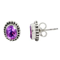 3.17cts natural purple amethyst 925 sterling silver stud earrings jewelry r22816