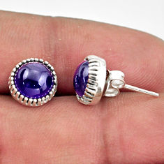 5.49cts natural purple amethyst 925 sterling silver stud earrings jewelry r38542