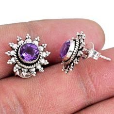 3.13cts natural purple amethyst 925 sterling silver stud earrings jewelry r55282