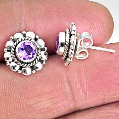 1.63cts natural purple amethyst 925 sterling silver stud earrings jewelry r59561