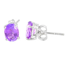 3.38cts natural purple amethyst 925 sterling silver stud earrings jewelry r77063