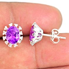 3.89cts natural purple amethyst 925 silver handmade stud earrings r82849