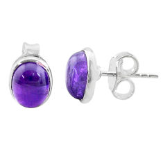 4.18cts natural purple amethyst 925 sterling silver stud earrings jewelry t19262