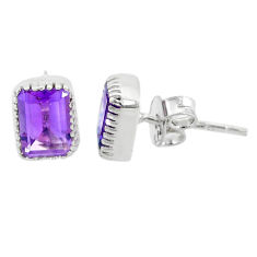 2.50cts natural purple amethyst 925 silver handmade stud earrings jewelry t7373