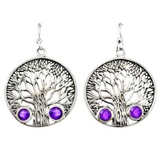 1.88cts natural purple amethyst 925 sterling silver tree of life earrings r38747
