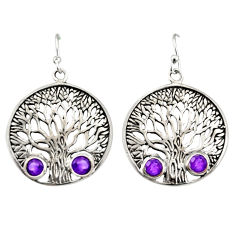 1.94cts natural purple amethyst 925 sterling silver tree of life earrings r38749