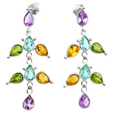 16.30cts natural purple amethyst citrine topaz 925 silver dangle earrings r33114