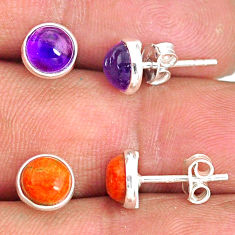 5.70cts natural purple amethyst copper turquoise 925 silver stud earrings r81548