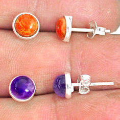 5.70cts natural purple amethyst copper turquoise 925 silver stud earrings r81575